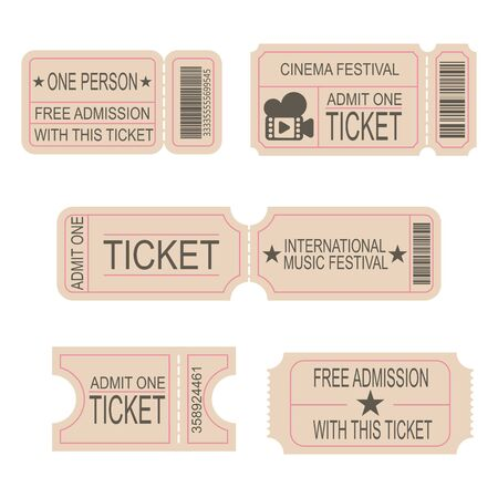 Illustration for Ticket Templates. Tickets to the cinema, theater, music festival. Lottery Coupon. Set of vector images. - Royalty Free Image