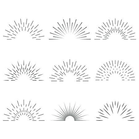 Illustration pour Sun rays. Sunrise. Sun shine. Borders for banners, logo, emblems. Vector. - image libre de droit