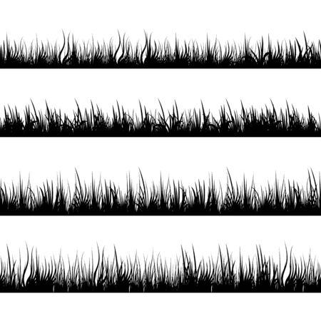 Illustration pour Grass silhouettes. Meadow landscape. Panorama black plants. Vector set. - image libre de droit