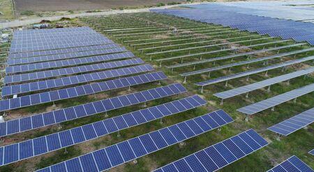 Photo for Aerial View of solar farm or solar power plant near Raichur, India. - Royalty Free Image