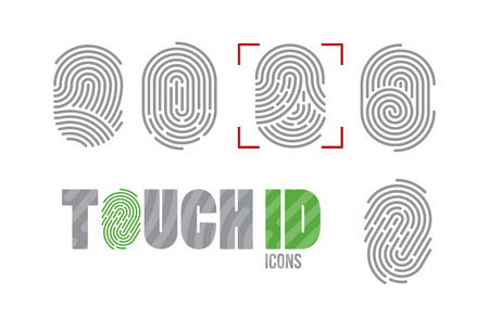 Ilustración de A set of fingerprint icons. Finger print scanning identification system. Biometric authorization, business security and personal data protection concept - Imagen libre de derechos