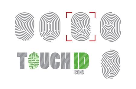 Illustration pour A set of fingerprint icons. Finger print scanning identification system. Biometric authorization, business security and personal data protection concept - image libre de droit