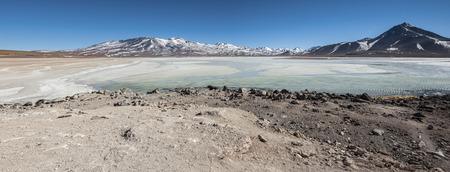 Laguna Blanca (White lagoon) and Licancabur volcano, Bolivia. Beautiful bolivian landscape.