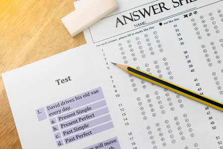 top view english exerciser and answer sheet represent testing english grammar with gradient light