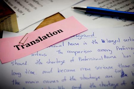 Photo pour handwriting blue english words on white paper represent translating to English language - image libre de droit