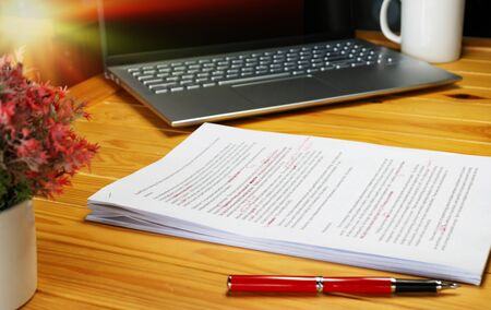 Photo for proofreading paper on table in office for service - Royalty Free Image
