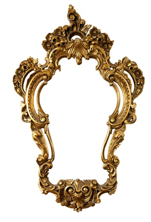 retro golden old frame a mirror, baroque style,  isolated on white  (clipping paths included)
