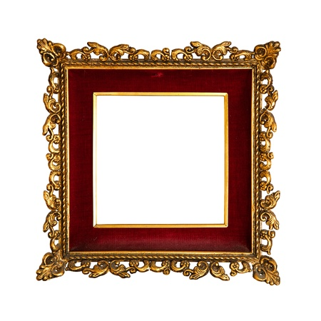old  golden retro frame, with red velvet, baroque style