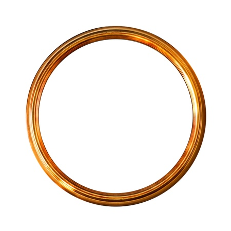 Round golden old picture frame, isolated on white, clipping paths included  (No#17)