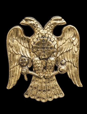 Double Headed Eagle,  common symbol in heraldry and vexillology  It is most commonly associated with the Byzantine Empire, the Holy Roman Empire, the Russian Empire and their successor states  - black background, clipping paths included