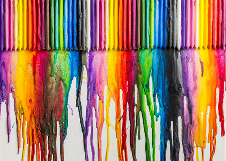 Melted Crayons Colorful Abstract  painted background on canvas
