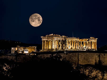 Parthenon of Athens at Night, Greece