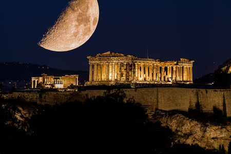 Photo for Parthenon of Athens under a huge magnificent moon, at dusk time,  Greece - Royalty Free Image