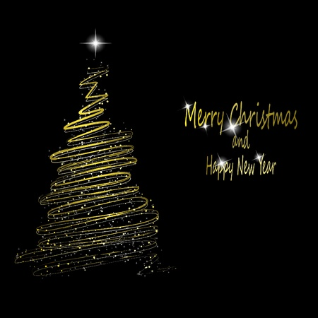 Golden Christmas  tree made from gold ribbons and stars on black background.  illustrationのイラスト素材