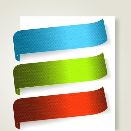 Set of colorful textile labels.