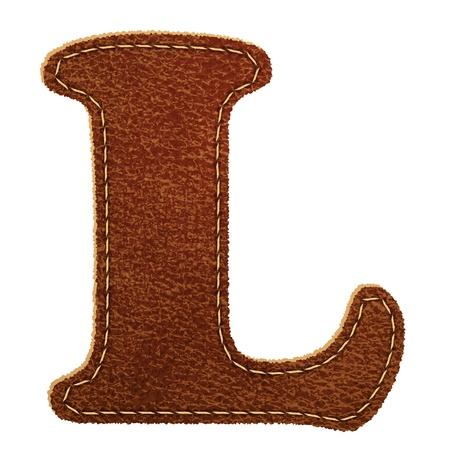 Leather alphabet. Leather textured letter L.