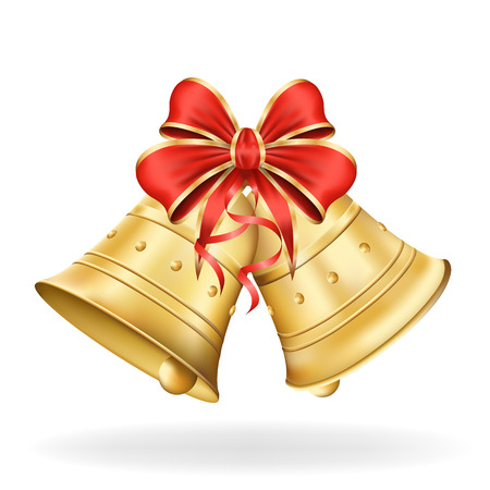 Illustration for Christmas bells with red bow on white background. Xmas decorations.  - Royalty Free Image
