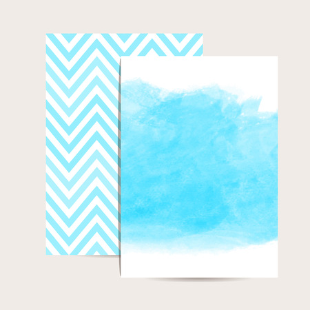 Abstract Background Watercolor Art Set Of 2 Blue