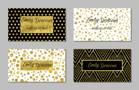 Illustration pour Set of 4 gold and white business card template or gift cards. Texture of gold foil. Luxury vector illustration. Easy editable template. Space for text. Stars confetti. - image libre de droit