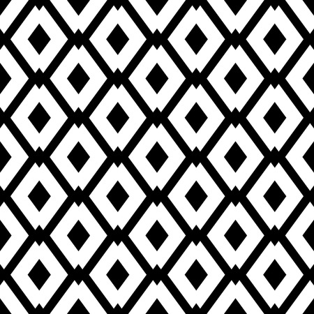 Illustration for Abstract geometric seamless pattern with rhombus. Simple black and white background.Vector illustration. Monochrome classic design. - Royalty Free Image