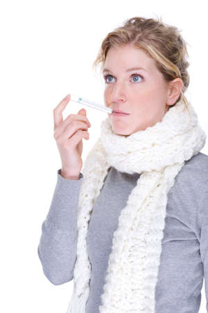 Full isolated portrait of a beautiful caucasian woman with clinical thermometer