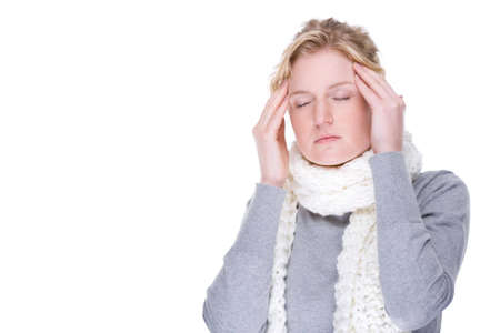 Full isolated portrait of a beautiful caucasian woman with headache