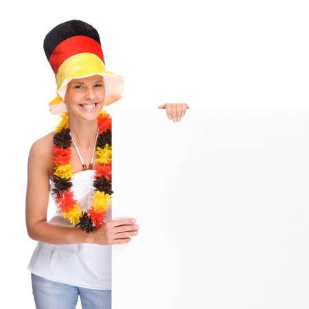 Full isolated portrait of a beautiful german soccer fan