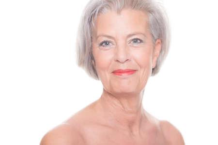 Foto für Portrait from a senior woman in front of white background - Lizenzfreies Bild