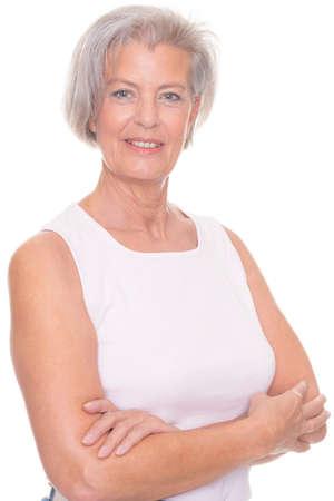 Foto für Smiling senior woman in front of white background - Lizenzfreies Bild