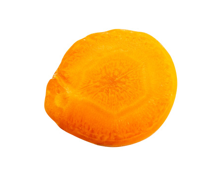 close up top view of fresh one carrot slice isolated on white background, File contains a clipping path.