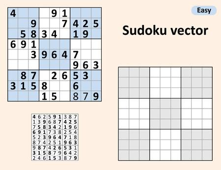 Illustration pour Symmetrical Sudoku with answers. Vector set Sudoku. Blank template. - image libre de droit