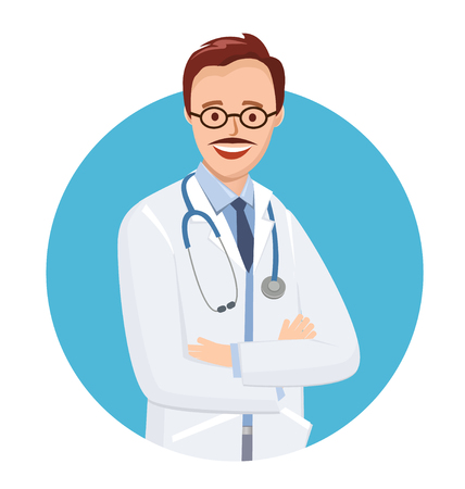 Ilustración de Doctor in blue circle on white background. Vector illustration medic in flat style. Doctor with glasses and a mustache. On the neck of a stethoscope. - Imagen libre de derechos