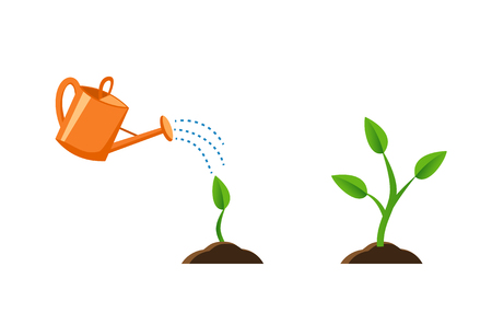 Illustration pour illustration with plant growth. Sprout in the ground. Orange watering pot. Flat style, Images for banners, websites, designs. - image libre de droit