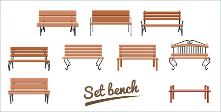 Illustration pour Outdoor wooden benches. isolated on white background. brown vector bench in flat style. Set Vector illustration. - image libre de droit