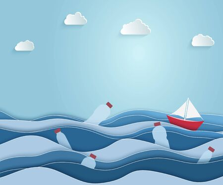 Illustration for The ship sails on the sea littered with plastic waste. Ecological blue poster. paper art and digital crafts style. Vector illustration. - Royalty Free Image