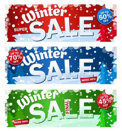 Illustration pour Set bright horizontal Sale banner  on color background with snowflakes. Text - Winter super sale. - image libre de droit