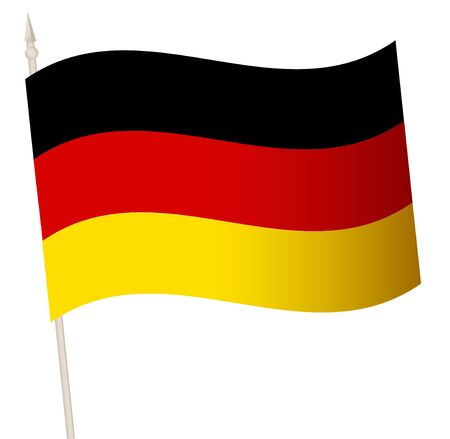 Vector Waving flag on a flagpole. The national flag of Germany.