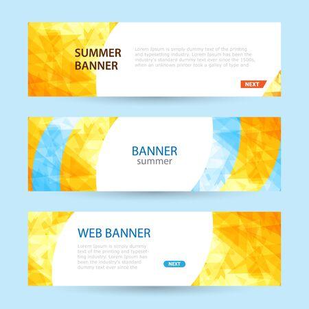 Illustration pour Set Horizontal summer web banner templates. Bright sun rays - image libre de droit