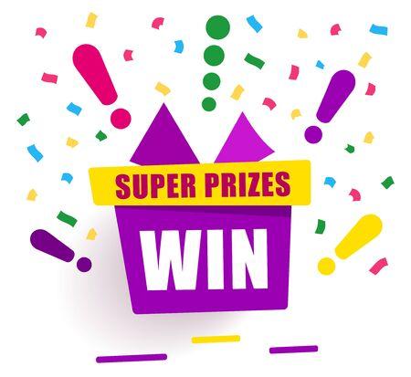 Illustration pour Super prizes win on purple gift box, loyalty program reward - image libre de droit