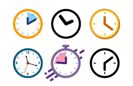 Illustration pour Big set of different color clock icons. Alarm clock, stopwatch. - image libre de droit