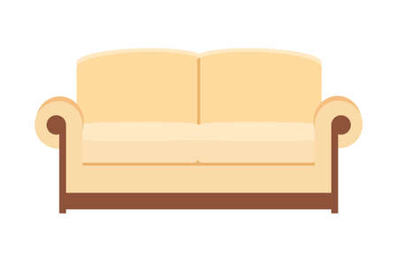 Illustration pour beige Sofa isolated on white. Sofa icon for interior house. Vector illustration in flat style. - image libre de droit