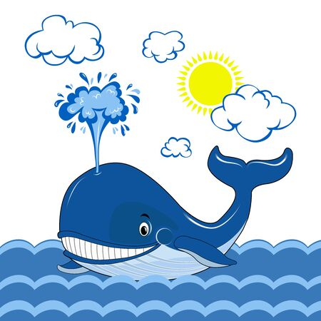 Illustration for A blue whale swims in the sea. Whale day. The clouds and the sun. Vector graphics. - Royalty Free Image