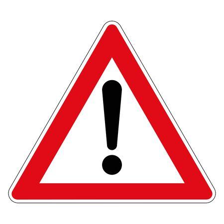 Illustration pour Road sign of danger. Germany. Danger zone. Vector graphics. - image libre de droit
