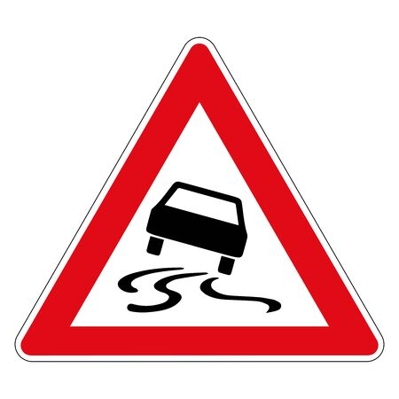 Illustration pour Danger of skidding or slipping due to humidity or dirt. Road sign of Germany. Vector graphics. - image libre de droit