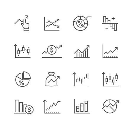 Illustration pour diagram and graphs related vector icons - image libre de droit