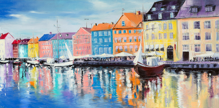 Photo pour Copenhagen bay, surrounded by colorful buildings and cafes, with few sail ships on a bright sunny day, Original oil paintings. - image libre de droit