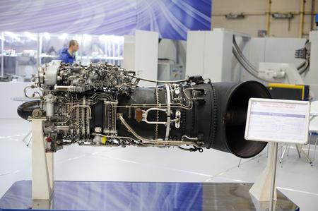 Photo pour Kiev, Ukraine - October 12, 2017: turbojet engine production ukraine Zaporozh sich exhibition Arms and Security - 2017 - image libre de droit