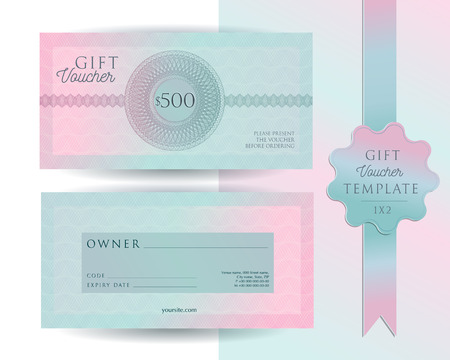 Photo pour Gift voucher card template. Modern discount 500 certificate layout with guilloche watermarks pattern. Fashion bright pink mint background design with sample text. Vector set of front and back sides - image libre de droit