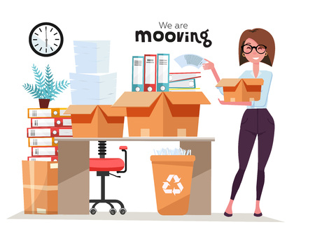 Illustration pour Successful smiling business woman holding cardboard box with work stuff, stack of folders at office moving. Office moving job concept. Vector flat style illustration isolated on white background. - image libre de droit