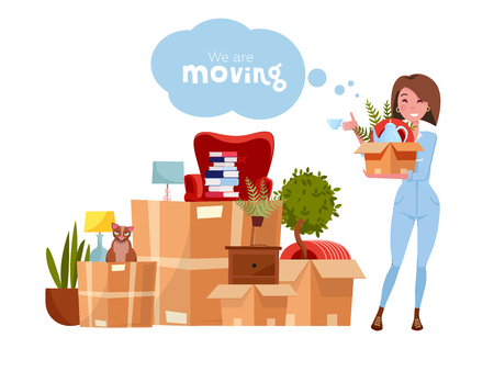 Illustration for Vector cartoon illustration of loader mover woman in uniform carrying box. Pile of stacked cardboard boxes with stuff. Concept for home moving on white background. Lettering quote We are moving - Royalty Free Image
